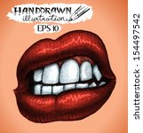hand drawn woman mouth   vector ... | Shutterstock .eps vector #154497542