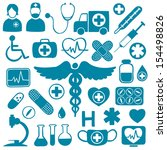 blue medical icons on white... | Shutterstock . vector #154498826