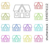 house multi color icon. simple...