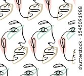 cute abstract line face.... | Shutterstock .eps vector #1545091988