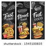 fast food menu blackboard with... | Shutterstock .eps vector #1545100835