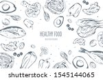 healthy food frame vector... | Shutterstock .eps vector #1545144065