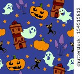 night background with ghosts... | Shutterstock .eps vector #154515812