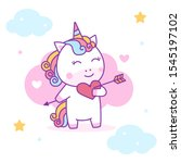 cute unicorn falling in love... | Shutterstock .eps vector #1545197102
