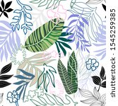 doodle tropical print. seamless ... | Shutterstock .eps vector #1545259385