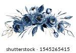 Navy Blue Flowers Watercolor ...