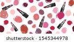 makeup set. lipstick hand drawn ... | Shutterstock .eps vector #1545344978