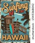 Vintage Surfing Time Poster...