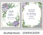 floral invitation card.... | Shutterstock .eps vector #1545413255