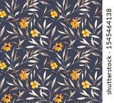watercolor flower seamless... | Shutterstock . vector #1545464138