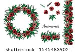 Anemones Red Flowers. Festive...