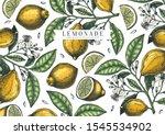 hand drawn citrus fruits... | Shutterstock .eps vector #1545534902