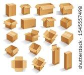set of blank brown cardboard... | Shutterstock .eps vector #1545557498