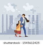 mom and daughter walk along the ...   Shutterstock .eps vector #1545612425