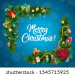 christmas gifts garland corner... | Shutterstock .eps vector #1545715925