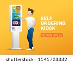 the man is ordering food from... | Shutterstock .eps vector #1545723332