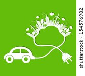 ecology concept with eco car... | Shutterstock .eps vector #154576982