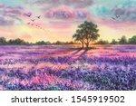 Watercolor Lavender Field....