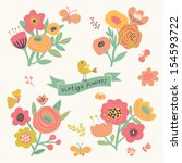 bright floral elements in... | Shutterstock .eps vector #154593722