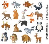 forest animals set on white... | Shutterstock .eps vector #154603262