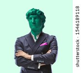 Small photo of Business status. Office man headed by bright statue on green background. Headache. Negative space to insert your text. Modern design. Contemporary colorful and conceptual bright art collage.