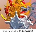 cartoon decorative oil painting.... | Shutterstock . vector #1546244432