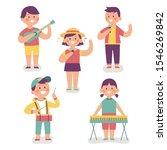 children happily playing music... | Shutterstock .eps vector #1546269842
