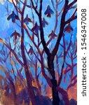 Autumn Landscape. Bare Trees...