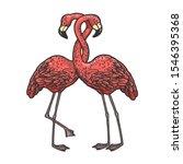 Flamingo Birds Love Couple Hug...