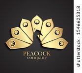 3d Golden Peacock Tail Logo