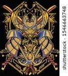 horror mecha samurai mask with... | Shutterstock .eps vector #1546663748