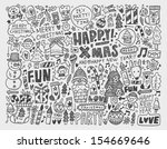 doodle christmas background | Shutterstock .eps vector #154669646