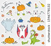 halloween stickers with cats....   Shutterstock .eps vector #1546778132
