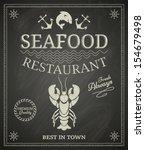 seafood restaurant poster on... | Shutterstock .eps vector #154679498