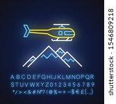 Heli Skiing Neon Light Icon....