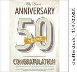 50 years anniversary retro... | Shutterstock .eps vector #154702805