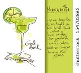 Illustration with hand drawn Margarita cocktail