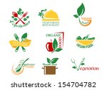 vegetarian food symbols with... | Shutterstock .eps vector #154704782