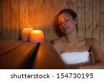 happy brunette woman sitting in ... | Shutterstock . vector #154730195