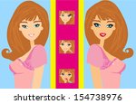 the girl does makeup  | Shutterstock .eps vector #154738976