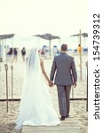 just married couple standing by ... | Shutterstock . vector #154739312