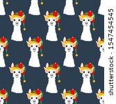 llama in christmas hat seamless ... | Shutterstock .eps vector #1547454545