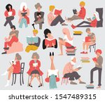 group of people reading books.... | Shutterstock .eps vector #1547489315