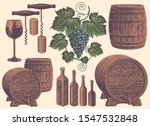 Winemaking. Design Set. Hand...
