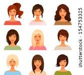 cute illustrations of beautiful ... | Shutterstock .eps vector #154753325