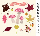 set of fall leaves and mushrooms   Shutterstock .eps vector #1547586935
