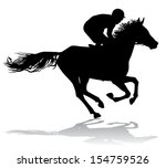 jockey riding on horseback.... | Shutterstock .eps vector #154759526