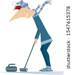 smiling young man plays curling ...   Shutterstock .eps vector #1547615378