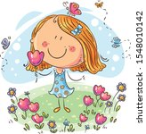 cartoon girl with flowers  can... | Shutterstock .eps vector #1548010142