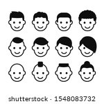 male haircuts icon set. simple... | Shutterstock . vector #1548083732